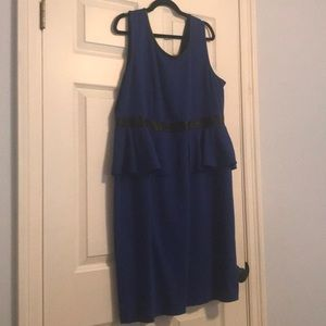 Blue peplum dress with leather detail